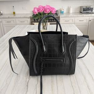 Celine Phantom Luggage Tote Black Croc Embossed
